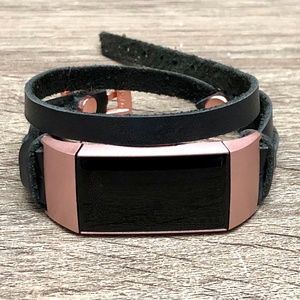 Black Double Wrap Rose Gold Charge 4 Leather Strap